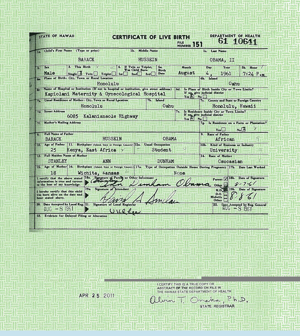 Will Release Of Obamas Purported Birth Certificate Give Rise To New