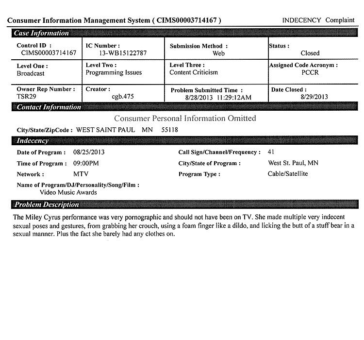 Here Are The Miley Cyrus FCC Complaints   The Smoking Gun