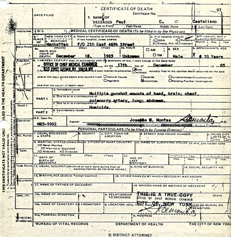 Paul Castellano Death Certificate
