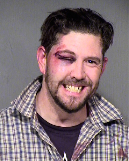 Arrested for assault, resisting arrest.