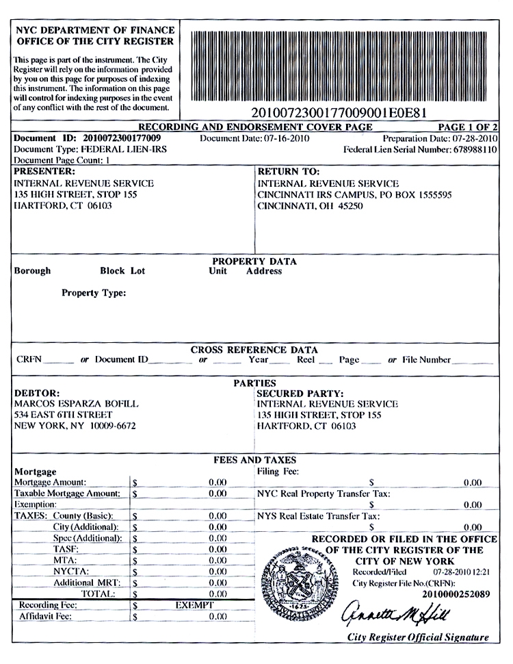 Federal Tax Lien Withdrawal Of Filed Notice Of Federal Tax Lien