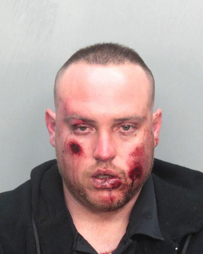 Arrested for theft, resisting an officer, and criminal mischief.