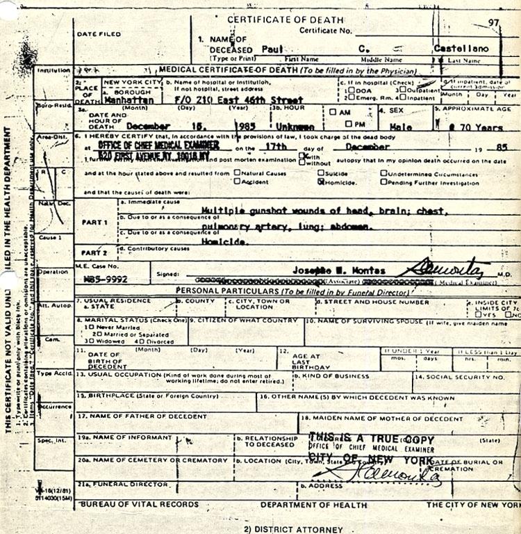Paul Castellano Death Certificate
