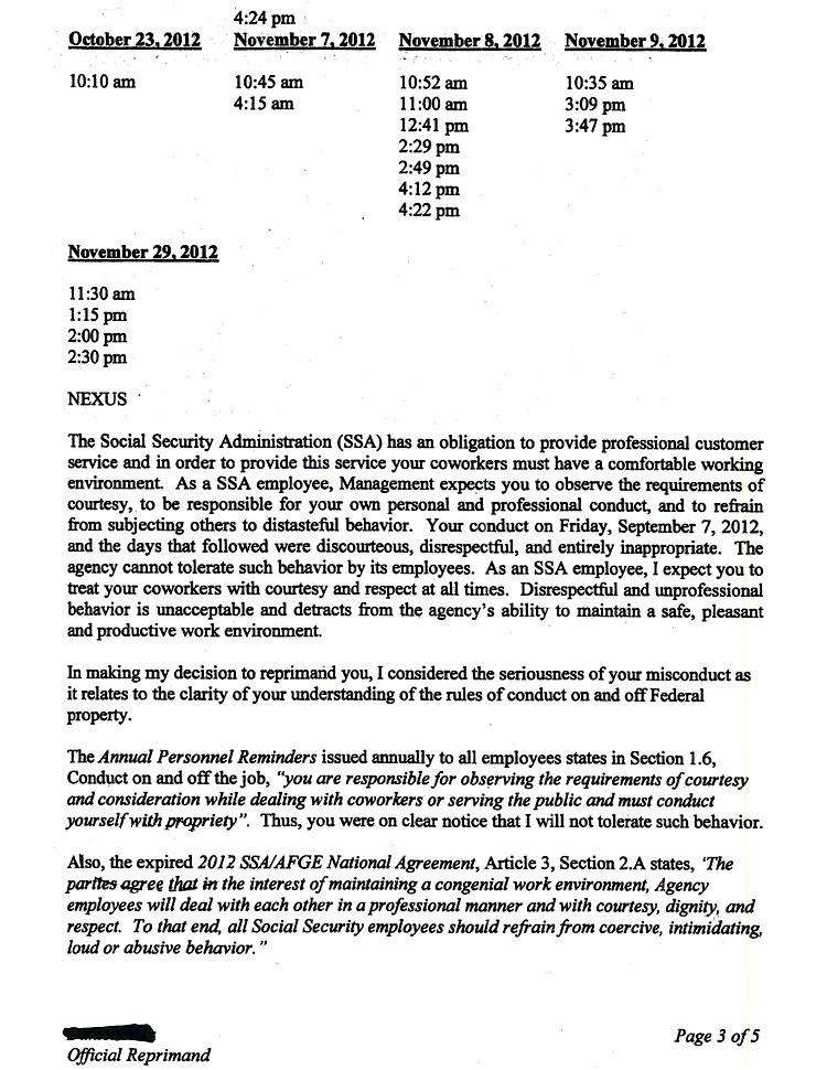Reprimand Letter For Disrespectful Behavior from www.thesmokinggun.com